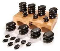 Sibel Hot Stone Massagestein-Set mit 36 Basaltsteine